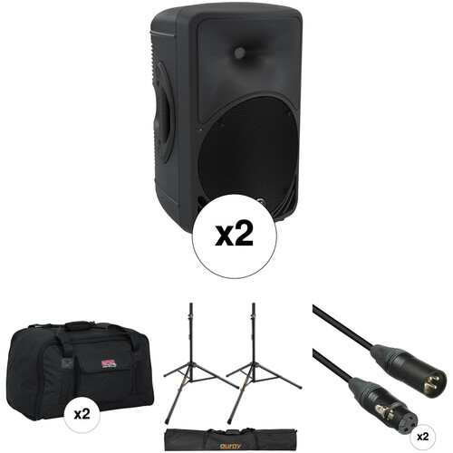 Mackie SRM350 Pair Kit with Stands, Cables, and Bags