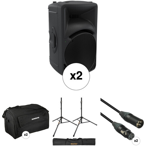 Mackie SRM450 Pair Kit with Stands, Cables, and Bags