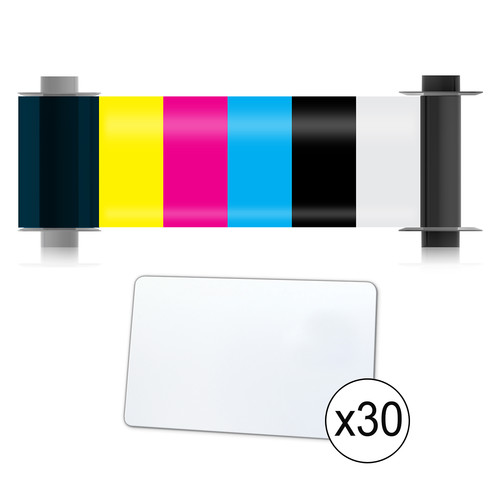 Magicard 50-Print YMCKO Ribbon & 50 CR80/30 PVC Cards