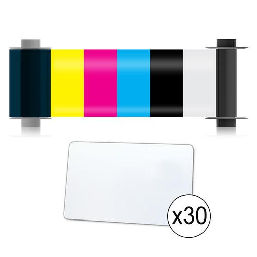 Magicard 100-Print YMCKO Ribbon & 100 CR80/30 PVC Cards