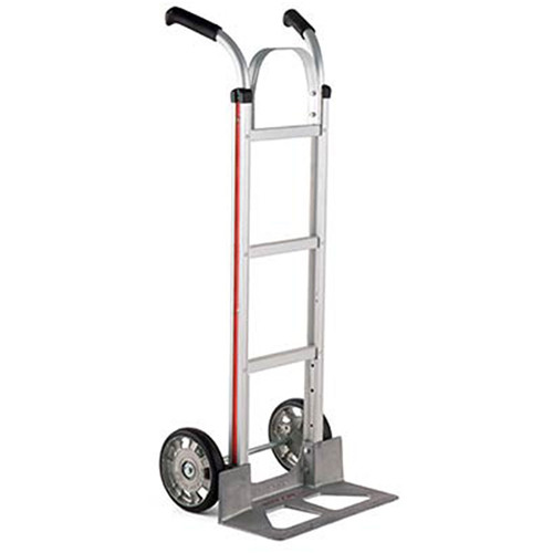"""Magliner Straight-Back Hand Truck with 8"""" Mold-On Rubber Pneumatic Wheels and Brace"""
