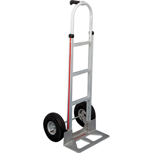 "Magliner HMA117UA4 Straight-Back Hand Truck with 10"" 4-Ply Pneumatic Wheels and Single-Grip Handle"