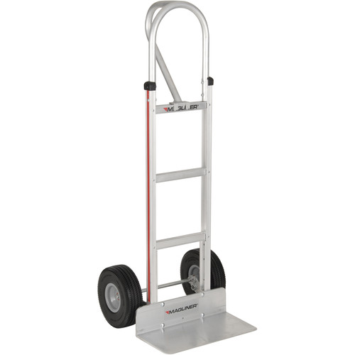 "Magliner HMA15AG2C Straight-Back Hand Truck with 10"" Microcellular Foam Wheels and Vertical Loop Handle"