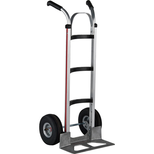 "Magliner HMA516UA4 Curved-Back Hand Truck with 10"" 4-Ply Pneumatic Wheels and Double-Grip Handle"