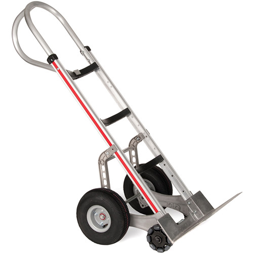 Magliner Curved-Back Hand Truck with Double-Row Multidirectional Wheels