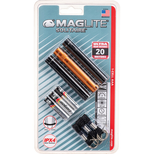 Maglite Solitaire 1-Cell AAA Incandescent Flashlight (3-Pack: 2 Black & 1 Amber, Clamshell Packaging)