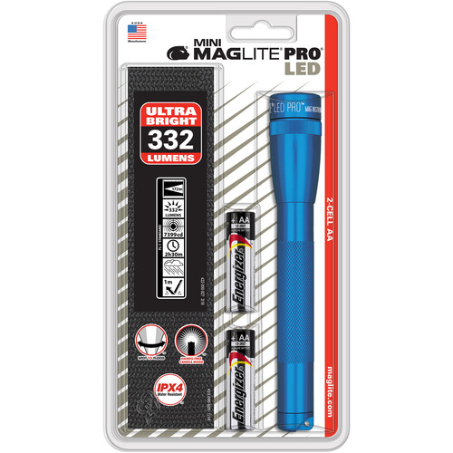 Maglite Mini MAGLITE PRO LED 2-Cell AA Flashlight v.2 with Holster (Blue, Clamshell)