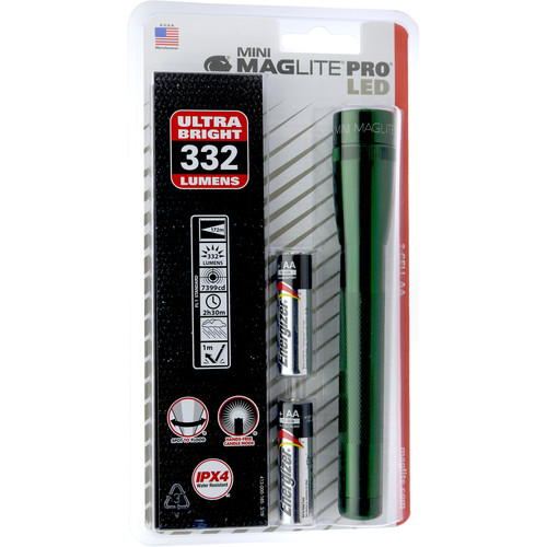 Maglite Mini Maglite Pro 2AA LED Flashlight with Holster (Dark Green, Clamshell Packaging)