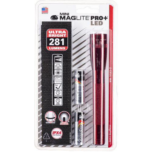 Maglite Mini Maglite Pro+ 2AA LED Flashlight with Holster (Red)