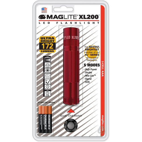 Maglite XL200 3-Cell AAA LED Flashlight (Red)