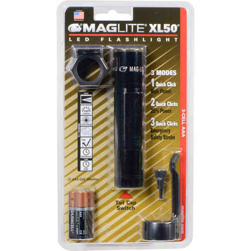 Maglite XL50 LED Flashlight Tactical Pack (Black, Clamshell Packaging)