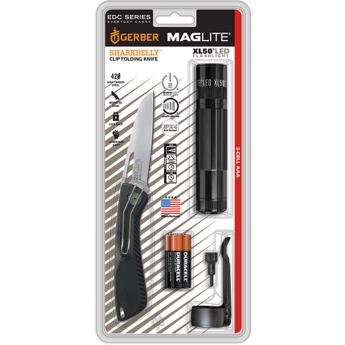Maglite XL50 3AAA LED Flashlight and Gerber Sharkbelly Folding Knife Kit