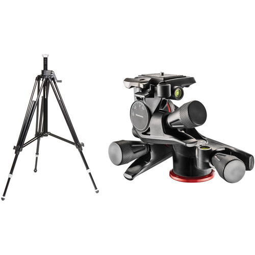 Manfrotto 028B Triman Camera Tripod with Geared Center Column & XPRO Geared 3-Way Pan/Tilt Head Kit