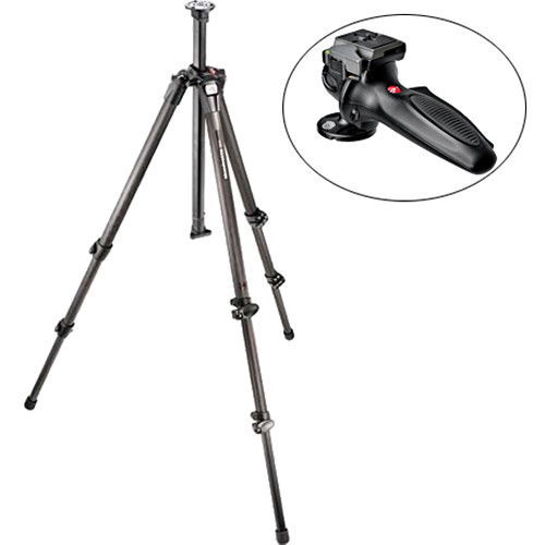 Manfrotto 055CX3 3-Section Carbon Fiber Tripod with 327RC2 Grip Ball Head Kit