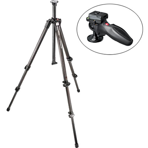Manfrotto 055CX3 3-Section Carbon Fiber Tripod with 324RC2 Grip Ball Head Kit