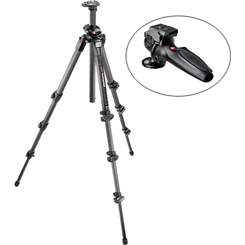 Manfrotto 055CXPRO4 4-Section Carbon Fiber Tripod with 327RC2 Grip Ball Head Kit