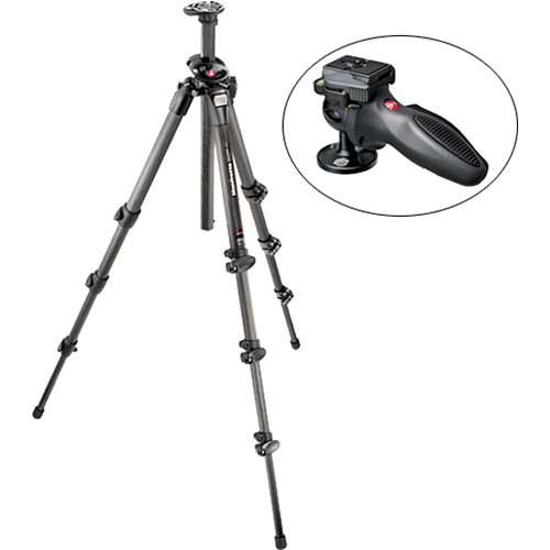 Manfrotto 055CXPRO4 4-Section Carbon Fiber Tripod with 324RC2 Grip Ball Head Kit