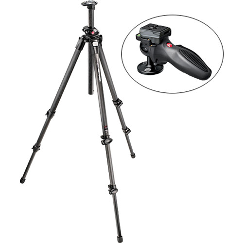 Manfrotto 055CXPRO3 3-Section Carbon Fiber Tripod with 324RC2 Grip Ball Head Kit