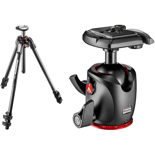 Manfrotto MT190CXPRO3 Carbon Fiber Tripod Kit with MHXPRO-BHQ2 XPRO Ball Head with 200PL Quick-Release System