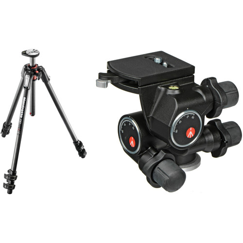 Manfrotto MT190CXPRO3 Carbon Fiber Tripod with 410 Junior Geared Head Kit
