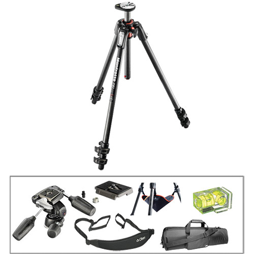 Manfrotto MT190CXPRO3 Carbon Fiber Tripod with 804RC2 3-Way Pan/Tilt Head Deluxe Kit