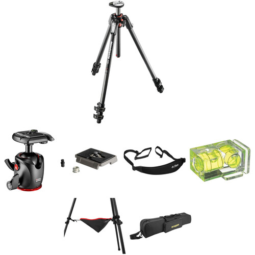 Manfrotto MT190CXPRO3 Carbon Fiber Tripod with MHXPRO-BHQ2 XPRO Ball Head Deluxe Kit