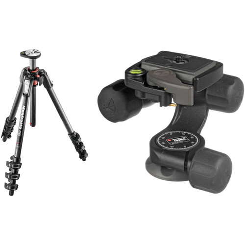 Manfrotto MT190CXPRO4 Carbon Fiber Tripod Kit with 460MG 3D Magnesium Head with RC2 Quick Release System