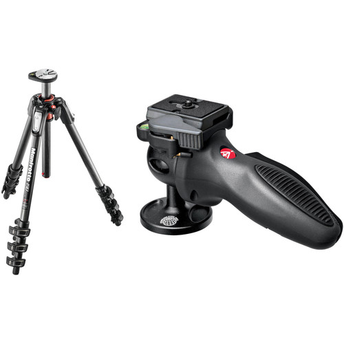 Manfrotto MT190CXPRO4 Carbon Fiber Tripod Kit with 324RC2 Joystick Head and RC2 Quick Release System