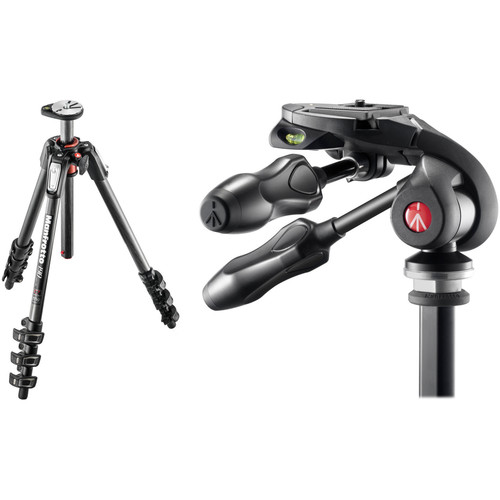 Manfrotto MT190CXPRO4 Carbon Fiber Tripod Kit with MH293D3-Q2 3-Way Photo Head and RC2 Quick Release System
