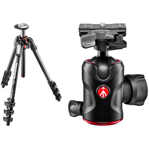 Manfrotto MT190CXPRO4 Carbon Fiber Tripod with 496RC2 Compact Ball Head Kit