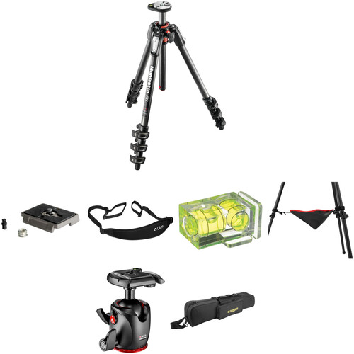 Manfrotto MT190CXPRO4 Carbon Fiber Tripod with MHXPRO-BHQ2 Ball Head Deluxe Kit