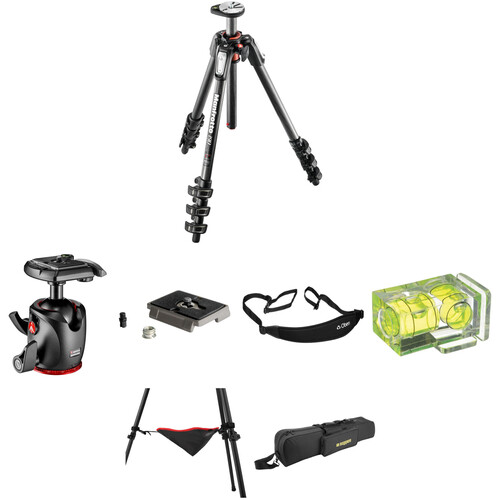Manfrotto MT190CXPRO4 Carbon Fiber Tripod with MHXPRO-BHQ2 XPRO Ball Head Deluxe Kit