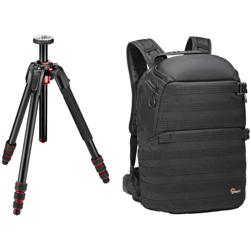 Manfrotto 190go! Aluminum Tripod and Lowepro ProTactic 450 AW Camera and Laptop Backpack (Black) Kit