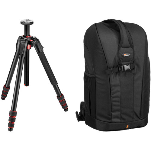 Manfrotto 190go! Aluminum Tripod and Lowepro Flipside 300 Backpack (Black) Kit