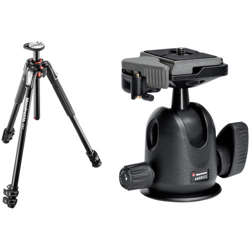 Manfrotto MT190XPRO3 Aluminum Tripod with 496RC2 Compact Ball Head Kit