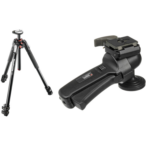 Manfrotto MT190XPRO3 Aluminum Tripod Kit with 322RC2 Grip Action Ball Head and Quick Release System