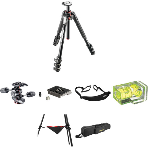 Manfrotto MT190XPRO4 Aluminum Tripod with MHXPRO-3W 3-Way Pan/Tilt Head Deluxe Kit