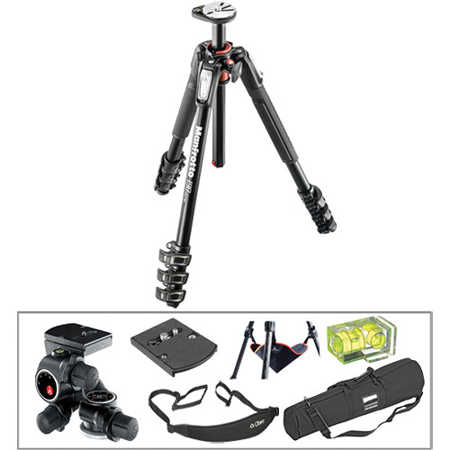Manfrotto MT190XPRO4 Aluminum Tripod with 410 Junior Geared Head Deluxe Kit