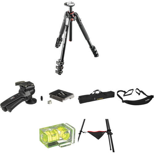 Manfrotto MT190XPRO4 Aluminum Tripod with 322RC2 Grip Action Ball Head Deluxe Kit