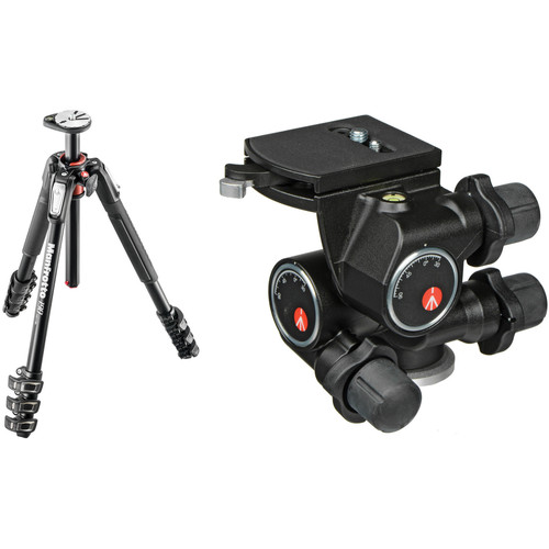 Manfrotto MT190XPRO4 Aluminum Tripod with 410 Junior Geared Head Kit