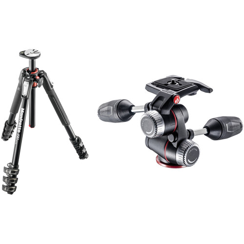 Manfrotto MT190XPRO4 Aluminum Tripod with MHXPRO-3W 3-Way Pan/Tilt Head Kit