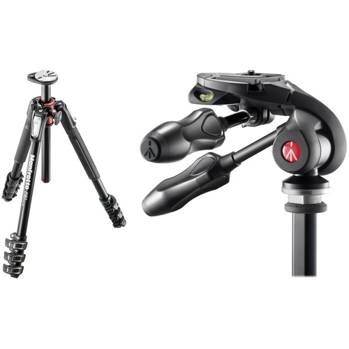 Manfrotto MT190XPRO4 Aluminum Tripod Kit with MH293D3-Q2 3-Way Photo Head