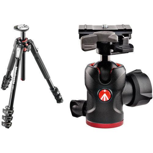 Manfrotto MT190XPRO4 Aluminum Tripod Kit with 494 Mini Ball Head and RC2 QR Plate