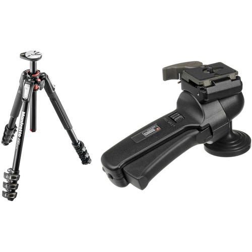 Manfrotto MT190XPRO4 Aluminum Tripod Kit with 322RC2 Grip Action Ball Head and Quick Release Plate