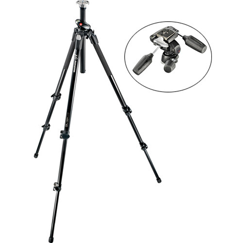 Manfrotto 190XPROL Aluminum Tripod with 804RC2 3-Way Pan/Tilt Head Kit