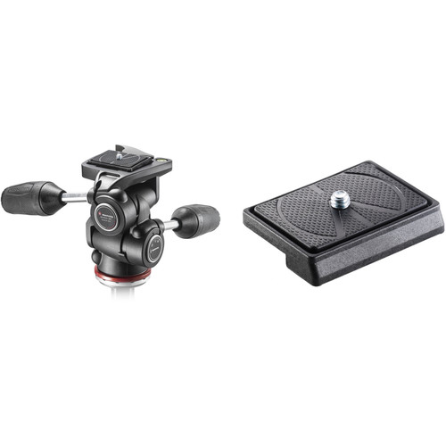 Manfrotto MH804 3-Way, Pan-and-Tilt Head Kit with 200LT-PL Quick Release Plates