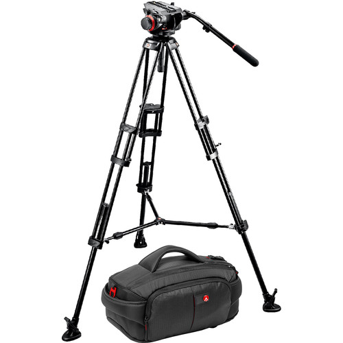 Manfrotto 546BK Tripod and 504 Head Bundle with 191 Camcorder Case