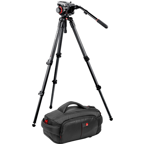 Manfrotto 535K Tripod and 504HD Head Bundle with 191 Camcorder Case