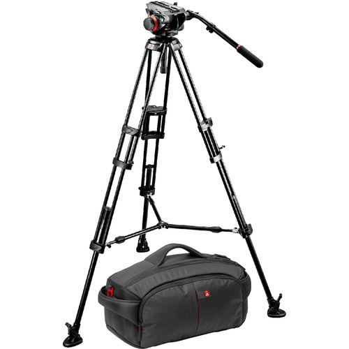 Manfrotto 546BK Tripod and 504HD Head Bundle with 193 Camcorder Case