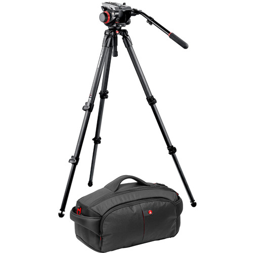 Manfrotto 535K Tripod / 504 Head Bundle with 193 Camcorder Case